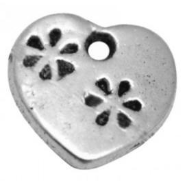 6 x Tibetaans zilveren bedeltje van een hartje 12 x 11mm