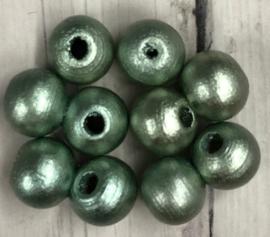 10 stuks houten kralen glanzend groen 7mm gat 2mm