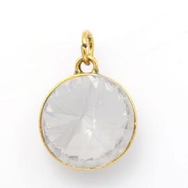 Geboorte steen hanger prachtig kristal facet 18 x 12mm - April Diamant goudkleur