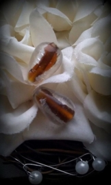 Per stuk Glaskraal India druppelvorm Bruin-zilverfoille 15 mm