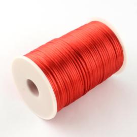 1 meter satijnkoord  van ca. 2 mm dik rood