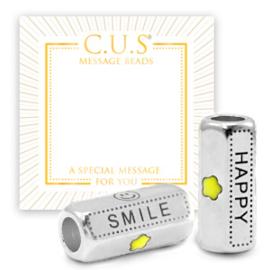 """1 x C.U.S® sieraden message beads """"smile and happy"""" & star Antiek zilver (nikkelvrij)"""