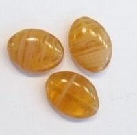 10 stuks glaskraal plat ovaal beige/bruin gemeleerd 18 mm
