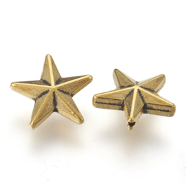 10 metalen kraal ster 12 x 12 x 4mm gat: 1mm antiek goudkleur (nikkelvrij)