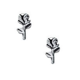 2 x Floating Charms Roos Antiek Zilver 8x4 mm