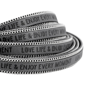 20 cm Quote imi leer 10mm met schakelketting zilver Love life Cool grey ♥