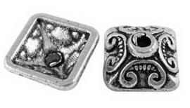 10 stuks tibetaans zilveren kralenkapjes 10mm gat 2mm