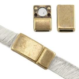 1x DQ metaal magneetslot voor 5 / 6 mm plat leer Antiek brons 17x8 mm Ø 6 mm