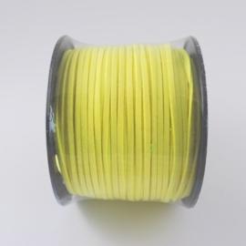 Faux suède veter, 1 meter x 3mm neon geel