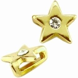 Per stuk metalen Ibiza schuiver ster met swarovski kristal Goud  Ø10mm