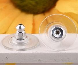 10 stuks verzilverde achterkantjes/stoppers voor oorbellen met plastic gedeelte  1x8mm hypoallergeen