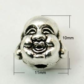 2 x Tibetaans zilveren Buddha kraal 10 x 11 x 9mm gat: 2mm