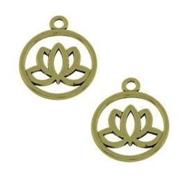 10 x Metaal Bedel Lotus Bronz 20x3 mm