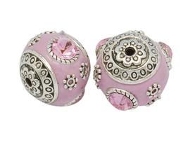Schitterende handgemaakte Kashmiri kraal 18mm ingelegd met metaal en strass Gat: 2mm roze