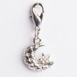 Be Charmed bedel maan met karabijnsluiting zilver met een rhodium laag (nikkelvrij)