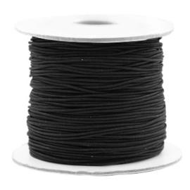 3 meter gekleurd elastiek draad van rubber voorzien van een laagje stof  1mm black