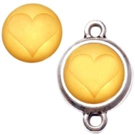 1 x  Polaris cabochon hart matt 15 mm Light topaz zonder houder