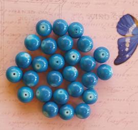 10 stuks Keramische glaskralen  10mm blauw