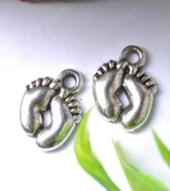 10 x Tibetaans zilveren voetjes 19 x 14 x 2mm gat: 2mm