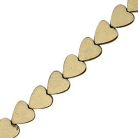 5 x Hematite kralen hart 6mm Antique gold