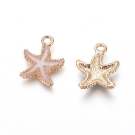 2 x Metalen bedels zeester light gold pink ca. 18 x14,5 x 3mm oogje 1,4mm