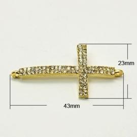 Schitterende Kruis tussenzetsel met strass goudkleur 23 x 43 x 4mm Gat: 1mm