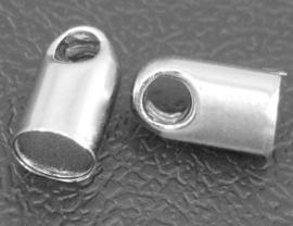 10 x  Tibetaans zilveren cord cap  2,8 x 5,2mm binnenzijde Ø2mm gat: 1,2mm
