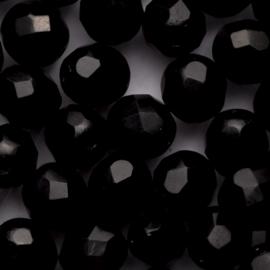 10 x ronde Tsjechië kraal kristal facet 9mm kleur: zwart gat: 1mm