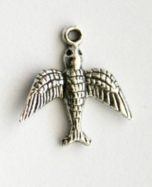 10x Tibetaans zilveren bedel van een vogel zwaluw 12 x 12mm Gat 1mm