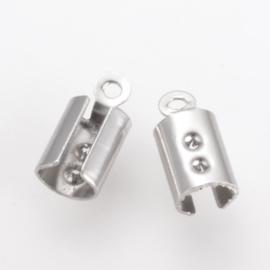 10 stuks ronde veterklemmen, RVS 10 x 4,5 mm gat 1mm (op is op!)