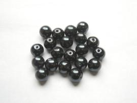 25 x prachtige glasparels 10mm Gat: 1mm kleur:  blauw-zwart