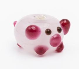 5 x licht roze glaskraal varkentje 8 x 12 x 15 mm; Gat 3 mm Handgemaakt