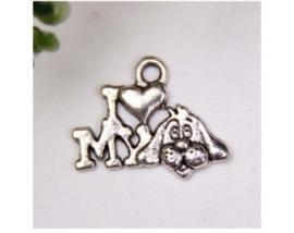 4 x Tibetaans zilveren bedeltje I love my dog 14 x 18 x 2mm gat 2mm ♥