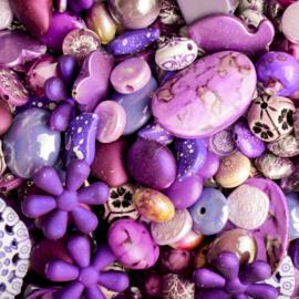 Luxe acryl kralen mix Paars lila (250 gram)  Kies voor pakketpost