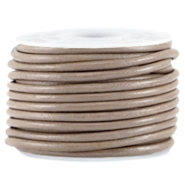 50cm DQ leer rond 3mm Dark taupe brown