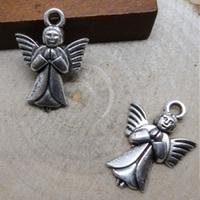 4 x Engel bedel Tibetaans Zilver 20x14mm, gat: 1-3mm