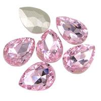 2x Kristallen facet cabochon in de vorm van een druppel 13 x 18mm roze