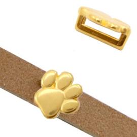 1 x Schuiver DQ metaal animal paw Ø10.2x2.2mm Goud (nikkelvrij)