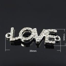 Schitterende tussenzetsel Love met strass 36 x 11 x 4mm Gat: 2mm ♥
