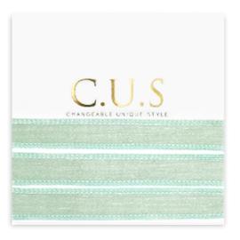 1 x C.U.S sieraden lint Shimmery ash green ca. 70x1.2cm