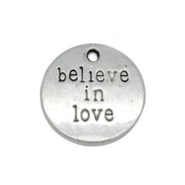 4 x DQ Believe in Love Bedel Antiek Zilver 20 mm