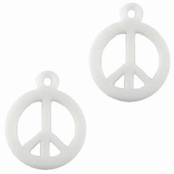 10 Stuks Kunststof hanger Peace Wit 17 mm