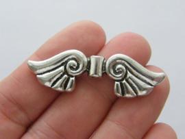 2 x grote Tibetaans zilveren engelen vleugel 45 x 14 x 4,5mm Gat: 2mm