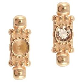 1x DQ setting 2 ogen voor SS24 puntsteen Rosé goud ca. 20x7mm (voor SS24 puntsteen 5,3mm)