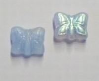 Per stuk Glaskraal vlinder blauw 12 mm
