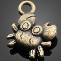10x Tibetaans zilveren bedeltje van een krab c.a. 10 x 12mm gat: c.a. 2mm geel koper kleur