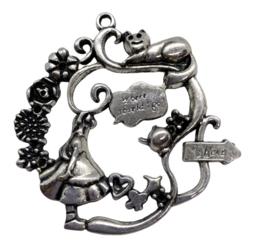 Tibetaans zilveren bedel hanger meisje met kat kleur:  Zilver