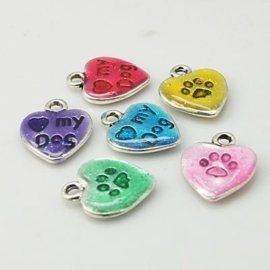 5 stuks assortiment epoxy bedeltjes hart mix: I love my dog! 13 mm x 10mm
