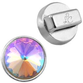 DQ  Love Crystals setting/slider zilver ca. 14mm (voor puntstenen 12 mm) Ø10.2x2.2mm ♥