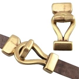 DQ metaal haaksluiting lus (voor DQ leer plat 10mm) Geel koper kleur (nikkelvrij) ca. 42 x 18 mm (Ø 2.5x10.5mm)